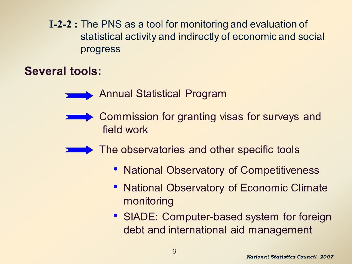 9 I-2-2 : The PNS as a tool for monitoring and evaluation of statistical activity and indirectly of economic and social progress Several tools: Annual Statistical Program Commission for granting visas for surveys and field work The observatories and other specific tools National Observatory of Competitiveness National Observatory of Economic Climate monitoring SIADE: Computer-based system for foreign debt and international aid management National Statistics Council 2007