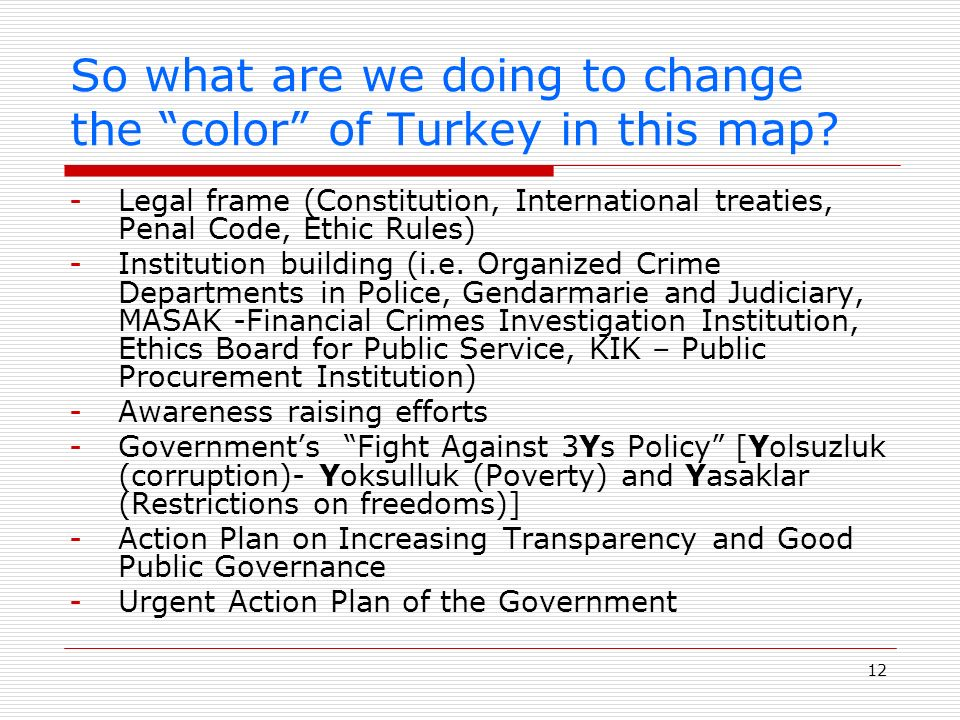 12 So what are we doing to change the color of Turkey in this map.