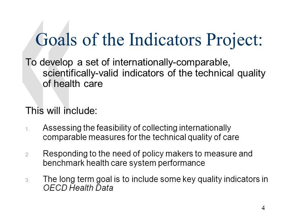 5 Criteria for good quality indicators The overall importance of the aspects of quality being measured –Burden of disease –Effectiveness of the intervention The scientific soundness of the measures The feasibility of collecting data on the indicators