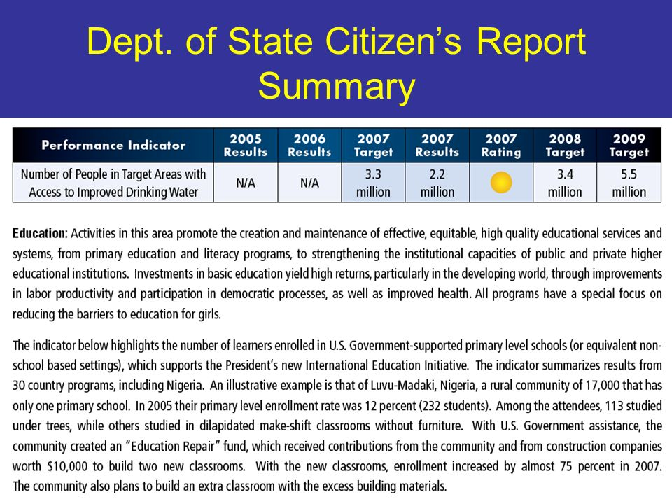 16 Dept. of State Citizens Report Summary