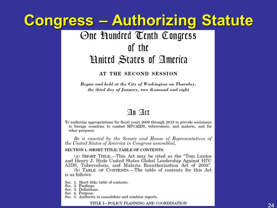 24 Congress – Authorizing Statute