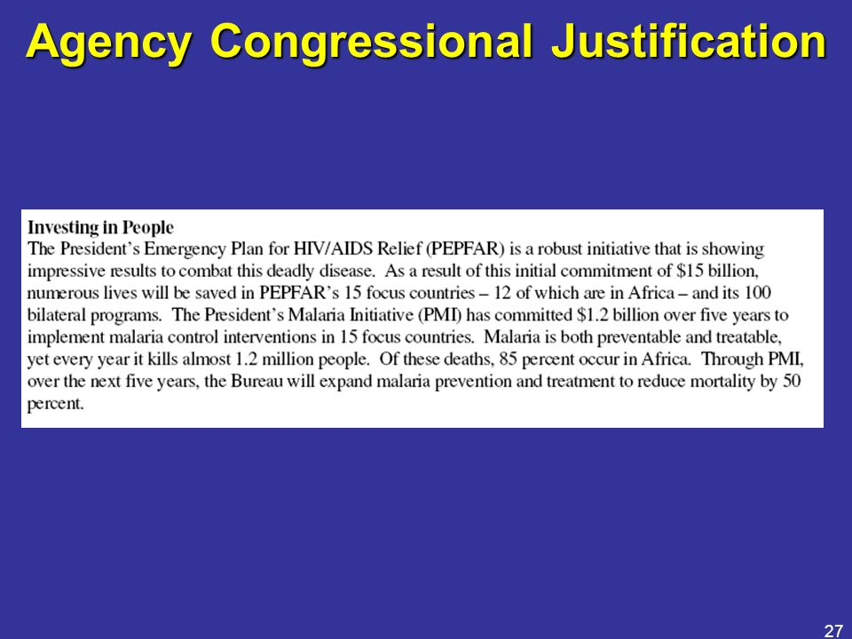 27 Agency Congressional Justification