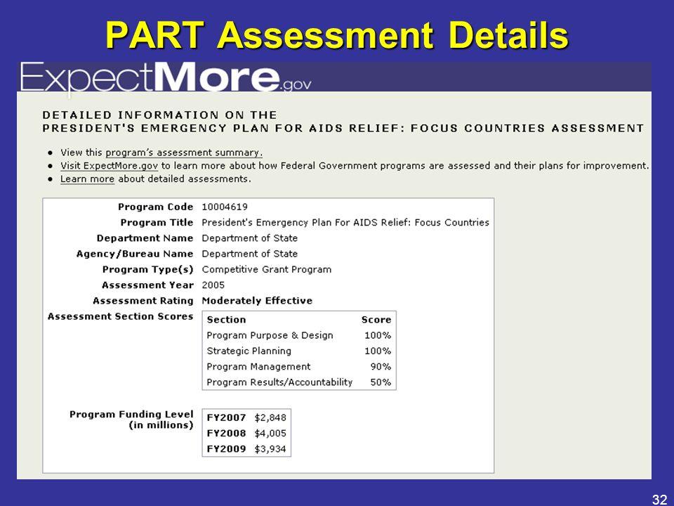 32 PART Assessment Details