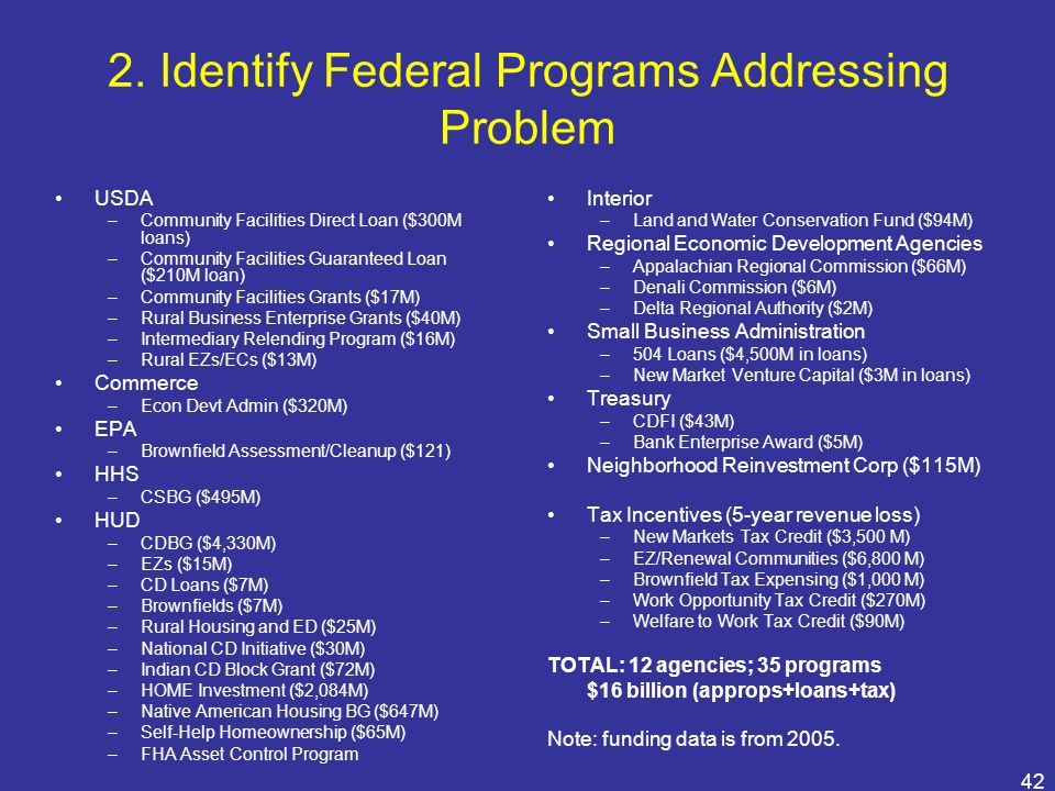 42 2. Identify Federal Programs Addressing Problem USDA –Community Facilities Direct Loan ($300M loans) –Community Facilities Guaranteed Loan ($210M l