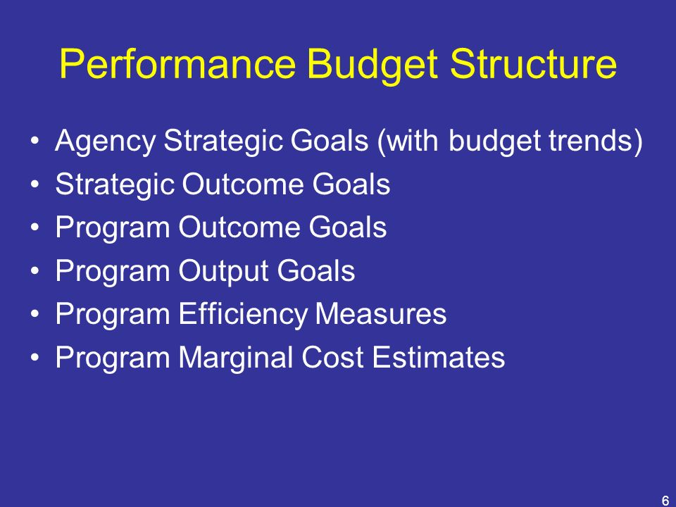 6 Performance Budget Structure Agency Strategic Goals (with budget trends) Strategic Outcome Goals Program Outcome Goals Program Output Goals Program