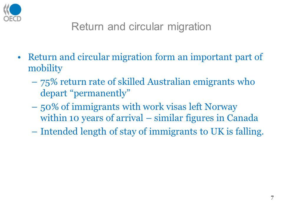 Return and circular migration Return and circular migration form an important part of mobility –75% return rate of skilled Australian emigrants who de