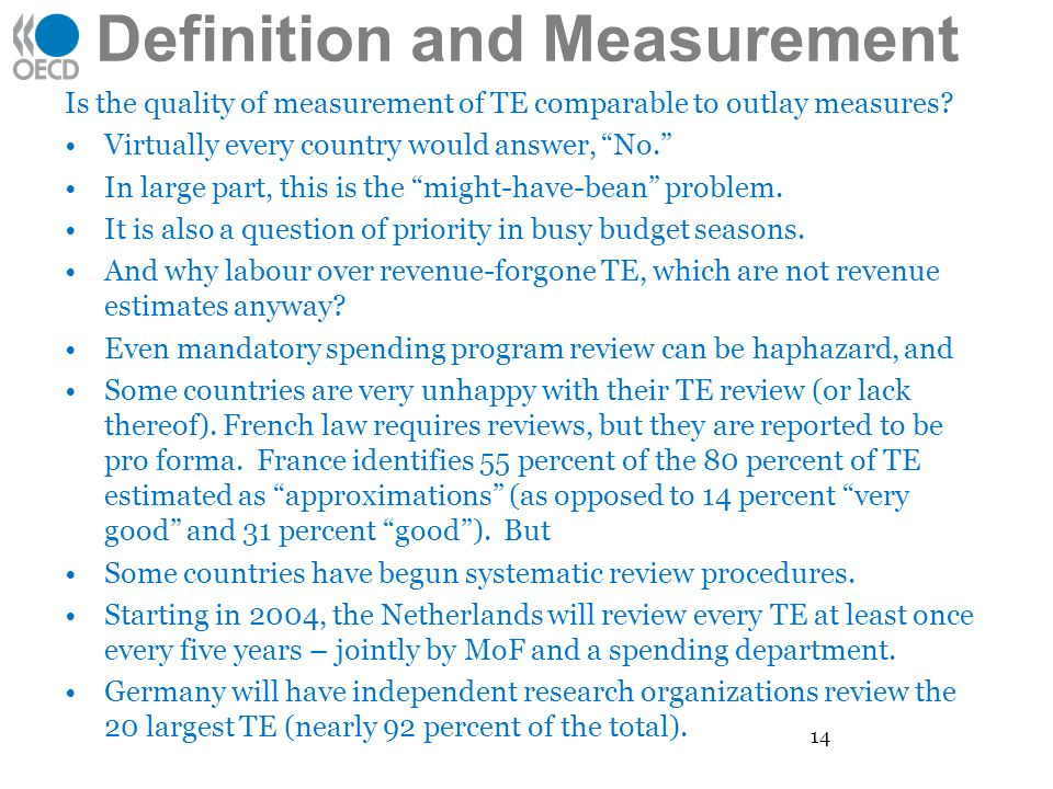 Definition and Measurement Is the quality of measurement of TE comparable to outlay measures.