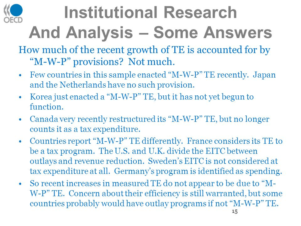Institutional Research And Analysis – Some Answers How much of the recent growth of TE is accounted for by M-W-P provisions.