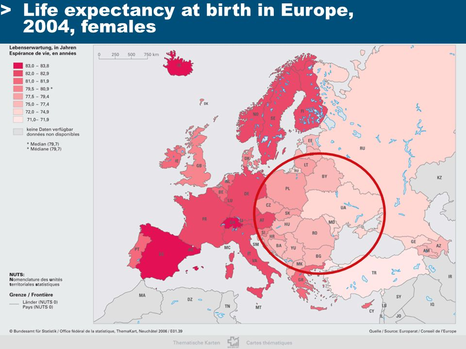 >Life expectancy at birth in Europe, 2004, females