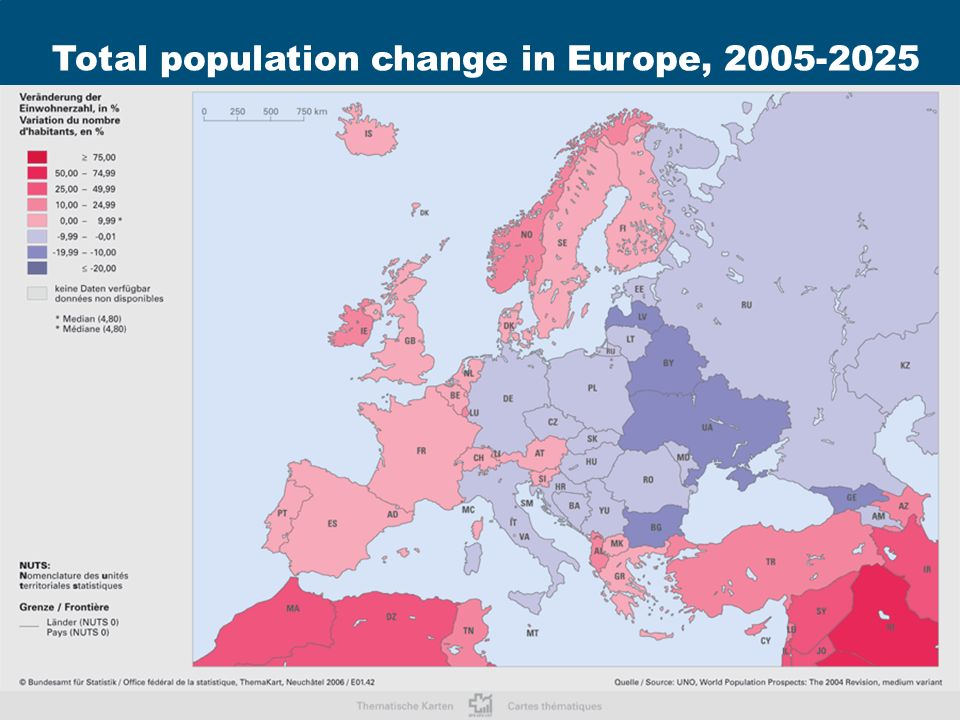 Rainer Muenz Aging and Demographic Change in Europe 2nd OECD World Forum on Statistics, Knowledge and Policy Istanbul, June 28, 2007 19 xxxxxxxxxxx Source: Labour Force Survey 2005 Total population change in Europe, 2005-2025