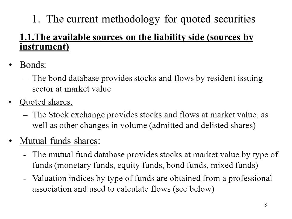 3 1. The current methodology for quoted securities 1.1.The available sources on the liability side (sources by instrument) Bonds: –The bond database p
