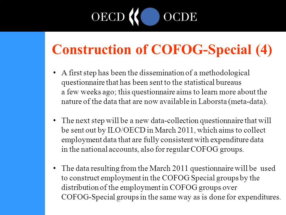 Construction of COFOG-Special (4) A first step has been the dissemination of a methodological questionnaire that has been sent to the statistical bureaus a few weeks ago; this questionnaire aims to learn more about the nature of the data that are now available in Laborsta (meta-data).