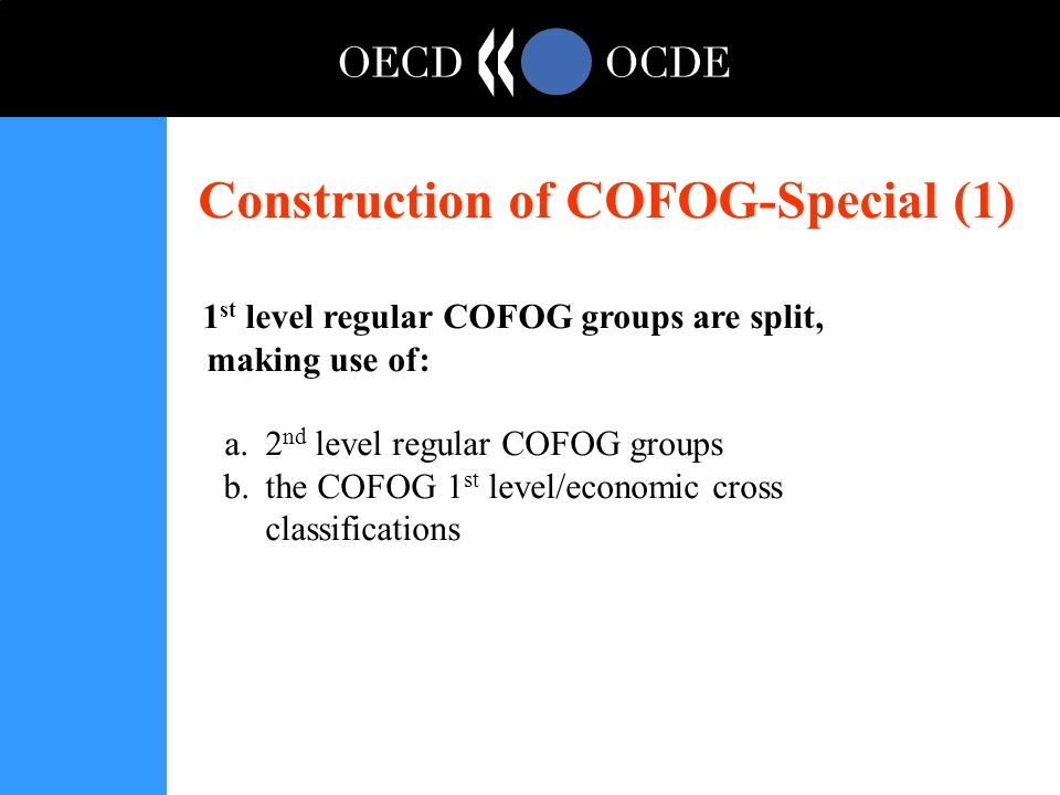 Construction of COFOG-Special (1) 1 st level regular COFOG groups are split, making use of: a.2 nd level regular COFOG groups b.the COFOG 1 st level/economic cross classifications