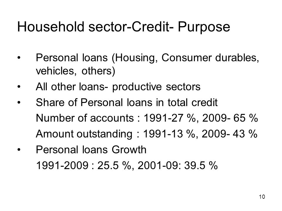 10 Household sector-Credit- Purpose Personal loans (Housing, Consumer durables, vehicles, others) All other loans- productive sectors Share of Personal loans in total credit Number of accounts : 1991-27 %, 2009- 65 % Amount outstanding : 1991-13 %, 2009- 43 % Personal loans Growth 1991-2009 : 25.5 %, 2001-09: 39.5 %