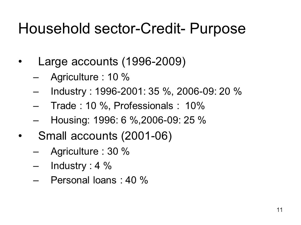 11 Household sector-Credit- Purpose Large accounts (1996-2009) –Agriculture : 10 % –Industry : 1996-2001: 35 %, 2006-09: 20 % –Trade : 10 %, Professio