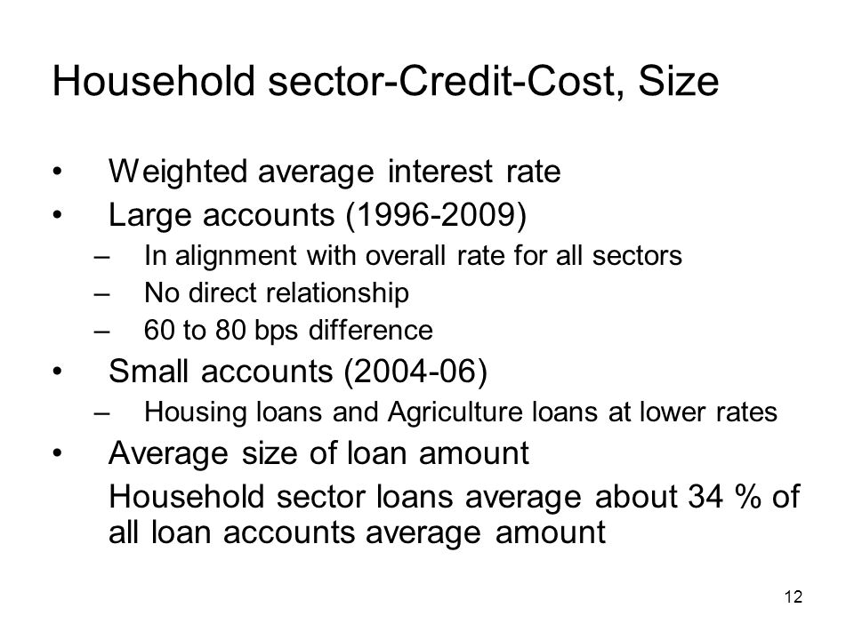 12 Household sector-Credit-Cost, Size Weighted average interest rate Large accounts (1996-2009) –In alignment with overall rate for all sectors –No direct relationship –60 to 80 bps difference Small accounts (2004-06) –Housing loans and Agriculture loans at lower rates Average size of loan amount Household sector loans average about 34 % of all loan accounts average amount
