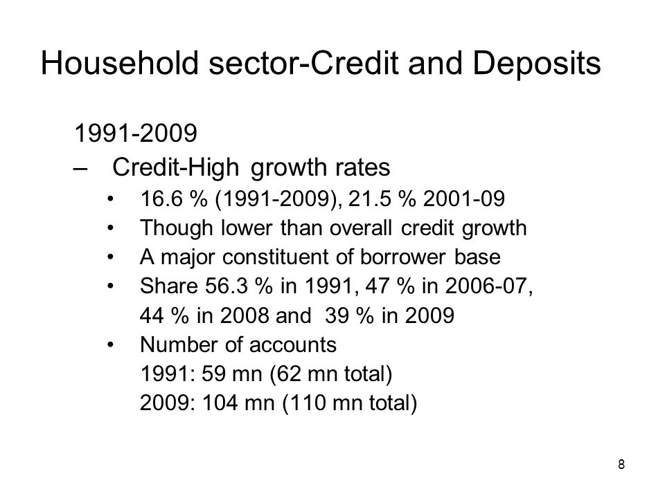 8 Household sector-Credit and Deposits –Credit-High growth rates 16.6 % ( ), 21.5 % Though lower than overall credit growth A major constituent of borrower base Share 56.3 % in 1991, 47 % in , 44 % in 2008 and 39 % in 2009 Number of accounts 1991: 59 mn (62 mn total) 2009: 104 mn (110 mn total)
