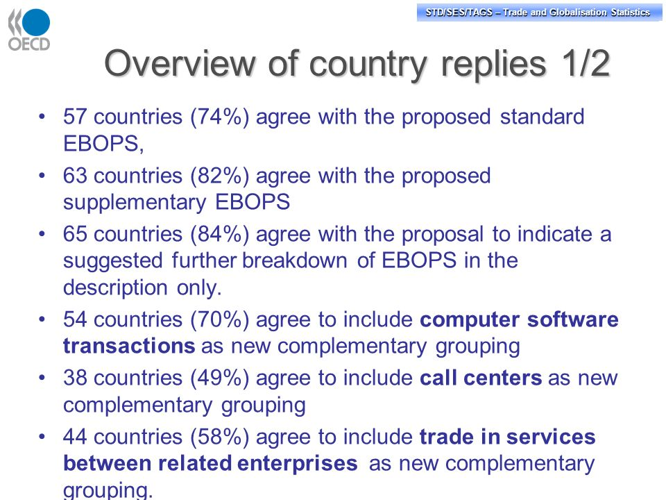 STD/PASS/TAGS – Trade and Globalisation Statistics STD/SES/TAGS – Trade and Globalisation Statistics Overview of country replies 1/2 57 countries (74%) agree with the proposed standard EBOPS, 63 countries (82%) agree with the proposed supplementary EBOPS 65 countries (84%) agree with the proposal to indicate a suggested further breakdown of EBOPS in the description only.