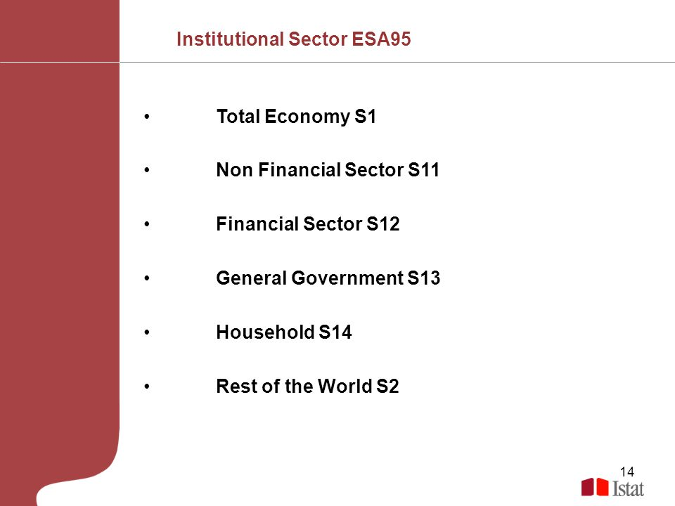 14 Total Economy S1 Non Financial Sector S11 Financial Sector S12 General Government S13 Household S14 Rest of the World S2 Source: EUROSTAT, OECD, OFFICE FOR NATIONAL STATISTICS UK Institutional Sector ESA95