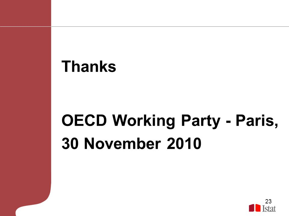23 Thanks OECD Working Party - Paris, 30 November 2010