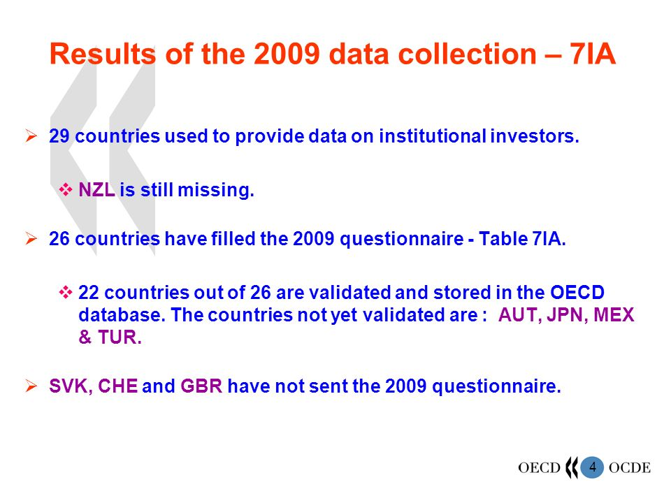 4 Results of the 2009 data collection – 7IA 29 countries used to provide data on institutional investors.