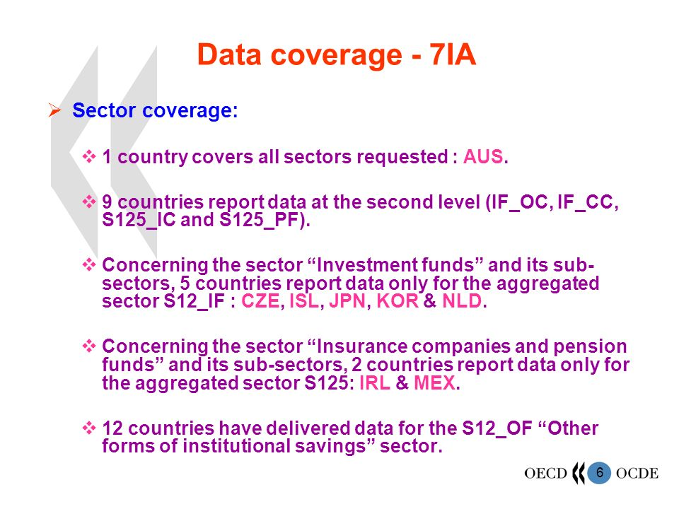 6 Data coverage - 7IA Sector coverage: 1 country covers all sectors requested : AUS. 9 countries report data at the second level (IF_OC, IF_CC, S125_I