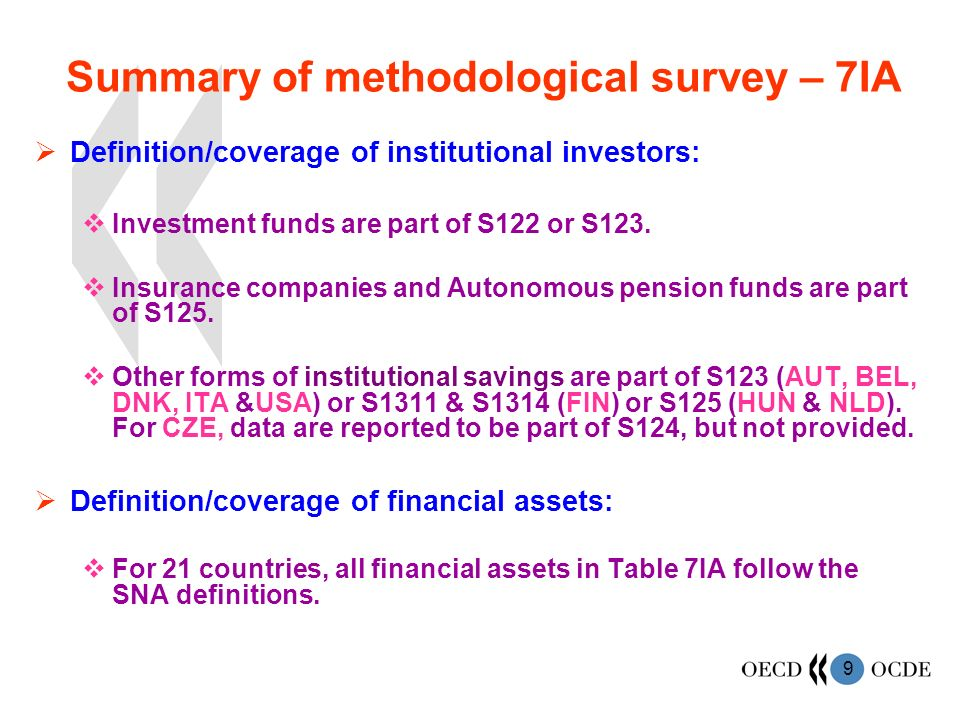 9 Summary of methodological survey – 7IA Definition/coverage of institutional investors: Investment funds are part of S122 or S123.