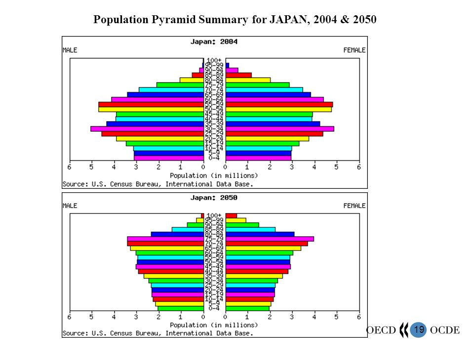 19 Population Pyramid Summary for JAPAN, 2004 & 2050