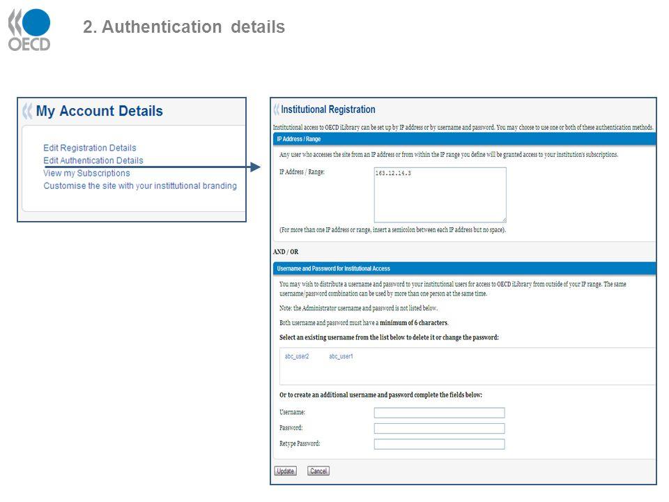 2. Authentication details