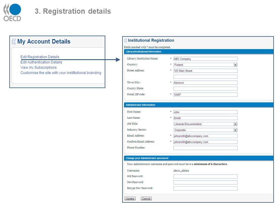 3. Registration details