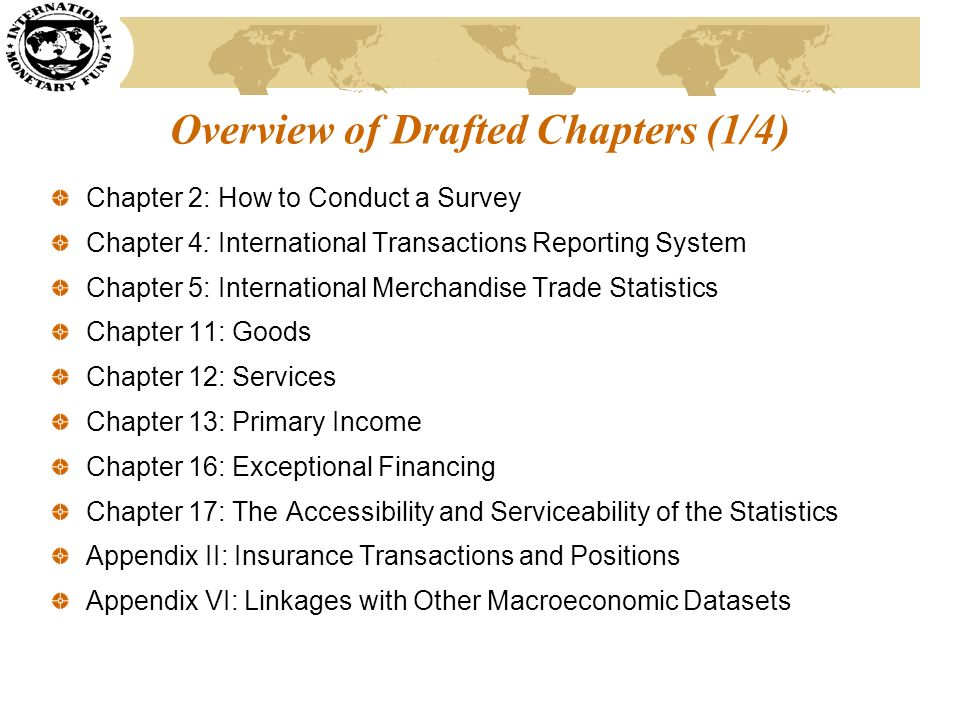 Overview of Drafted Chapters (1/4) Chapter 2: How to Conduct a Survey Chapter 4: International Transactions Reporting System Chapter 5: International