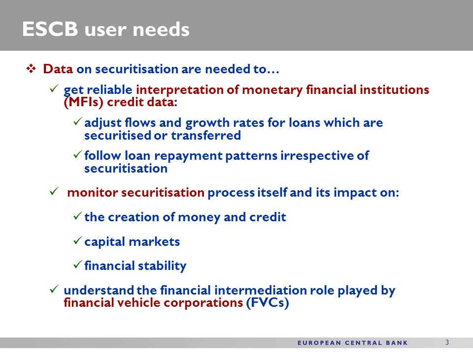 3 ESCB user needs Data on securitisation are needed to… get reliable interpretation of monetary financial institutions (MFIs) credit data: adjust flows and growth rates for loans which are securitised or transferred follow loan repayment patterns irrespective of securitisation monitor securitisation process itself and its impact on: the creation of money and credit capital markets financial stability understand the financial intermediation role played by financial vehicle corporations (FVCs)