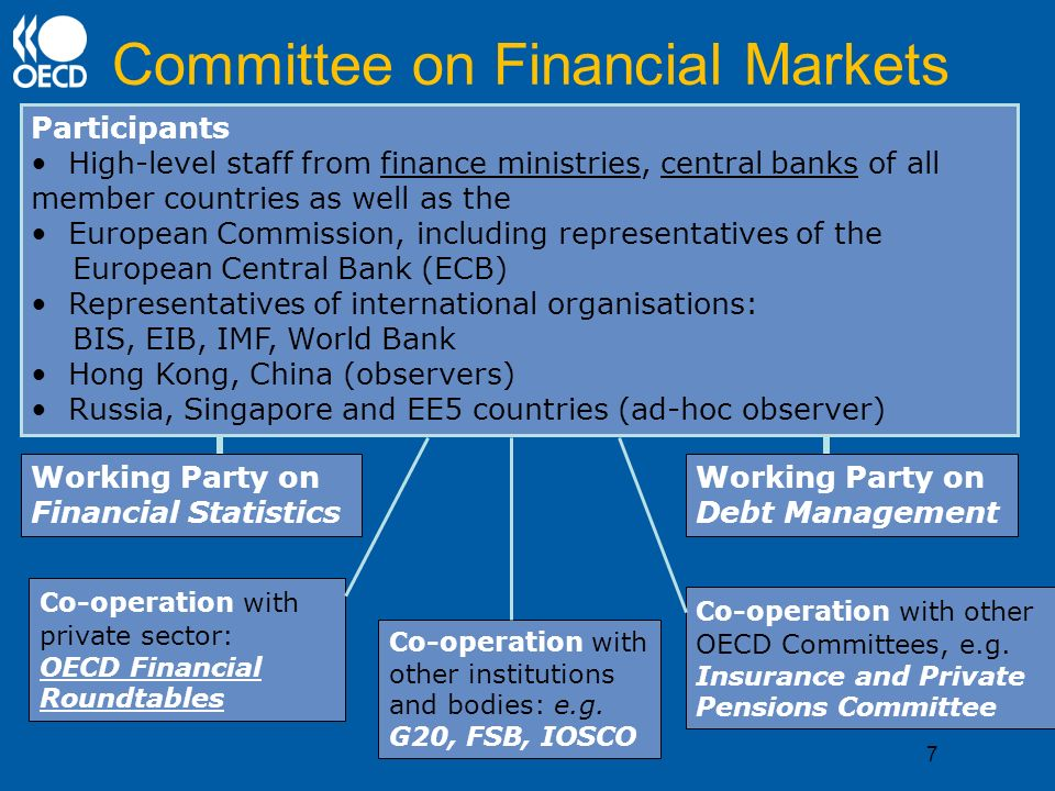 Committee on Financial Markets Participants High-level staff from finance ministries, central banks of all member countries as well as the European Commission, including representatives of the European Central Bank (ECB) Representatives of international organisations: BIS, EIB, IMF, World Bank Hong Kong, China (observers) Russia, Singapore and EE5 countries (ad-hoc observer) Working Party on Debt Management Working Party on Financial Statistics Co-operation with other OECD Committees, e.g.