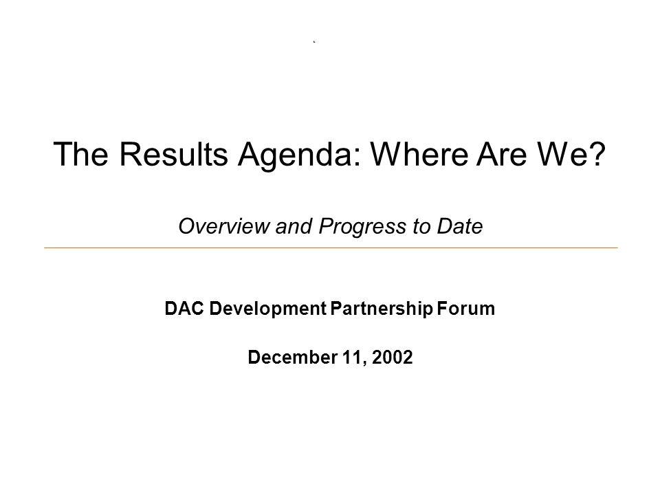 The Results Agenda: Where Are We.