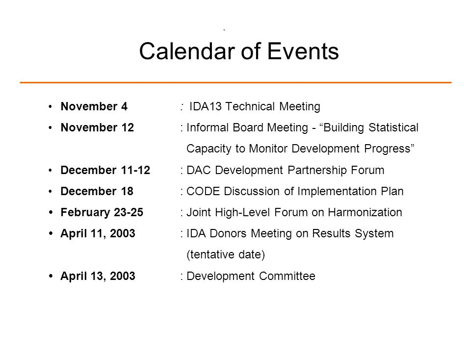 20 Calendar of Events November 4:IDA13 Technical Meeting November 12: Informal Board Meeting - Building Statistical Capacity to Monitor Development Progress December 11-12: DAC Development Partnership Forum December 18: CODE Discussion of Implementation Plan February 23-25: Joint High-Level Forum on Harmonization April 11, 2003: IDA Donors Meeting on Results System (tentative date) April 13, 2003: Development Committee