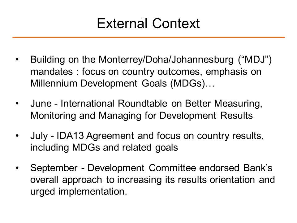 4 External Context Building on the Monterrey/Doha/Johannesburg (MDJ) mandates : focus on country outcomes, emphasis on Millennium Development Goals (M