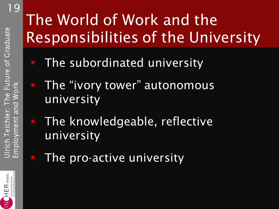 Ulrich Teichler: The Future of GraduateEmployment and Work 19 The World of Work and the Responsibilities of the University The subordinated university The ivory tower autonomous university The knowledgeable, reflective university The pro-active university