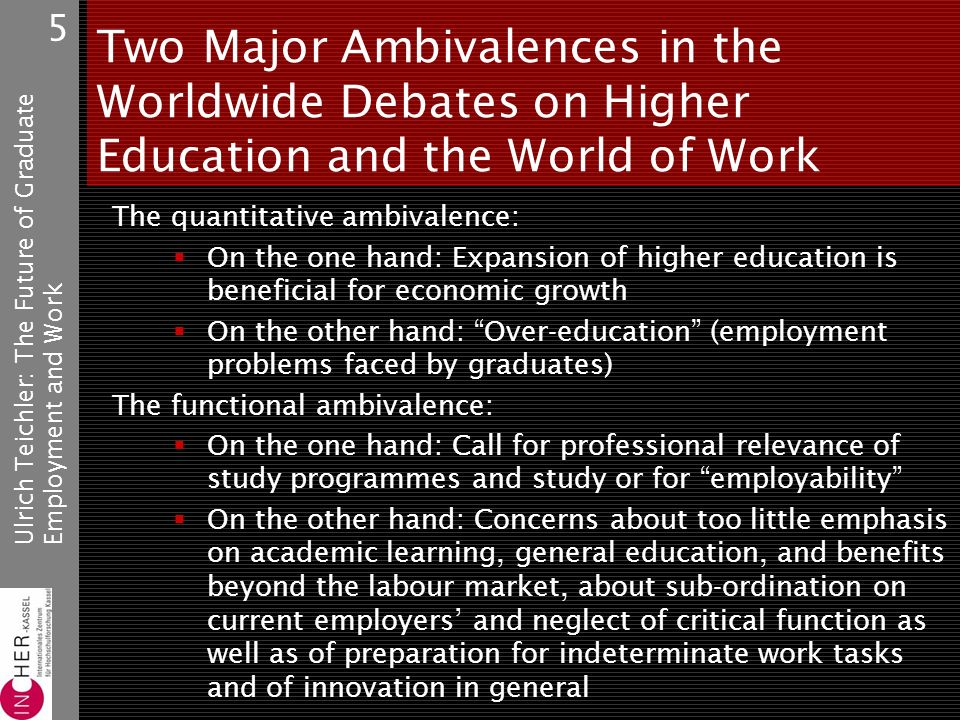 Ulrich Teichler: The Future of GraduateEmployment and Work 5 Two Major Ambivalences in the Worldwide Debates on Higher Education and the World of Work The quantitative ambivalence: On the one hand: Expansion of higher education is beneficial for economic growth On the other hand: Over-education (employment problems faced by graduates) The functional ambivalence: On the one hand: Call for professional relevance of study programmes and study or for employability On the other hand: Concerns about too little emphasis on academic learning, general education, and benefits beyond the labour market, about sub-ordination on current employers and neglect of critical function as well as of preparation for indeterminate work tasks and of innovation in general