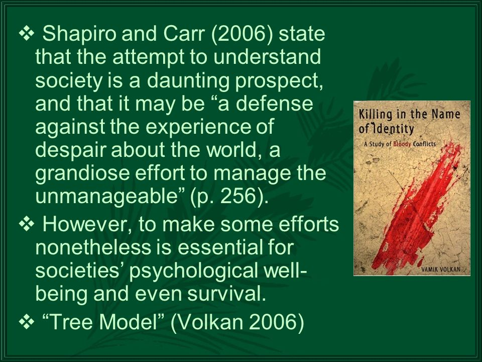 Shapiro and Carr (2006) state that the attempt to understand society is a daunting prospect, and that it may be a defense against the experience of despair about the world, a grandiose effort to manage the unmanageable (p.