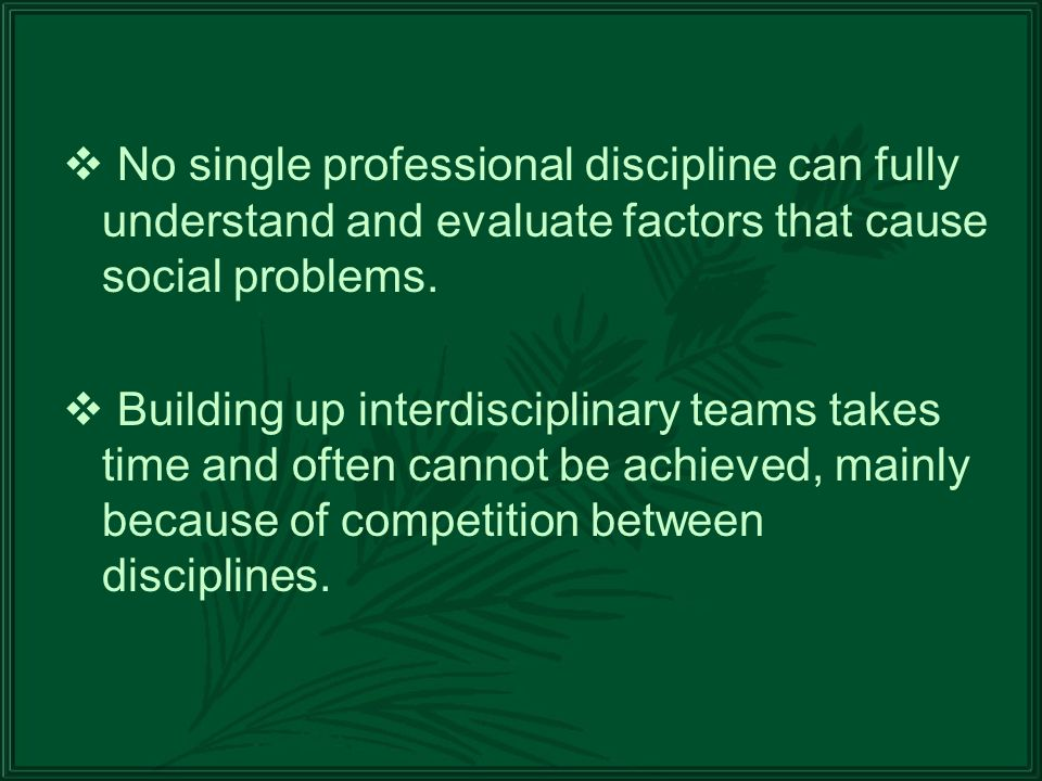 No single professional discipline can fully understand and evaluate factors that cause social problems.