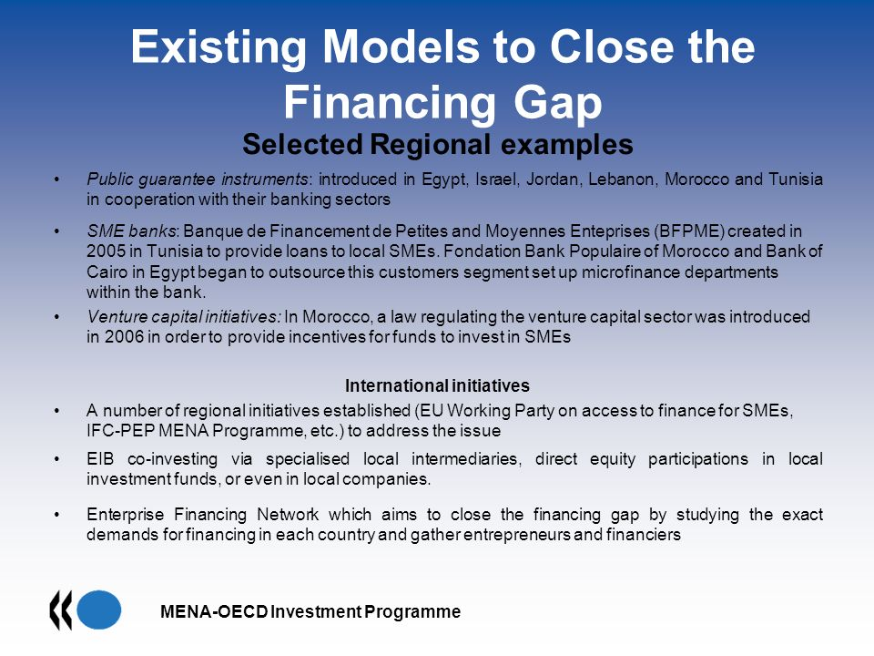 MENA-OECD Investment Programme Existing Models to Close the Financing Gap Selected Regional examples Public guarantee instruments: introduced in Egypt, Israel, Jordan, Lebanon, Morocco and Tunisia in cooperation with their banking sectors SME banks: Banque de Financement de Petites and Moyennes Enteprises (BFPME) created in 2005 in Tunisia to provide loans to local SMEs.