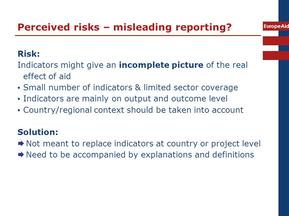 EuropeAid Perceived risks – misleading reporting.