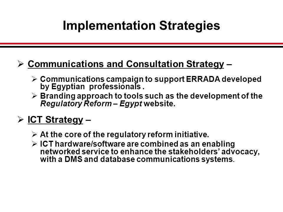 Communications and Consultation Strategy – Communications campaign to support ERRADA developed by Egyptian professionals.