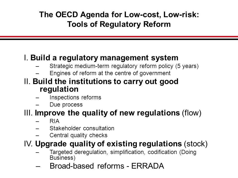 The OECD Agenda for Low-cost, Low-risk: Tools of Regulatory Reform I.