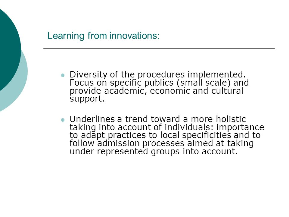 Learning from innovations: Diversity of the procedures implemented.