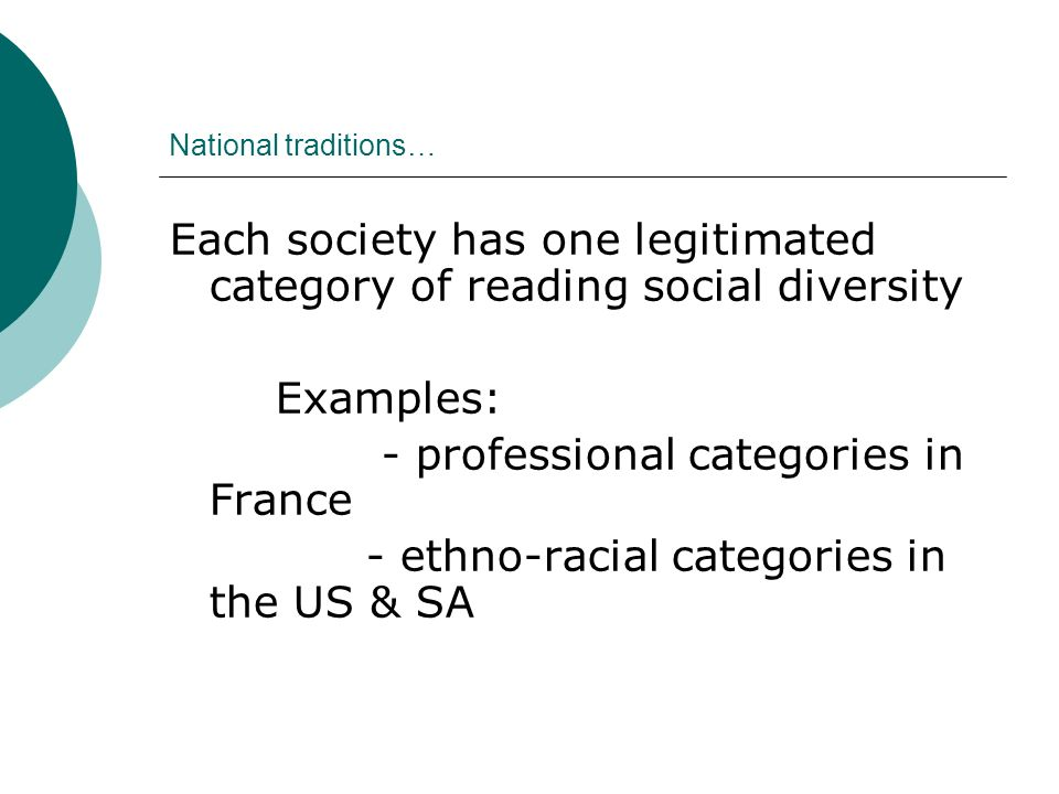 National traditions… Each society has one legitimated category of reading social diversity Examples: - professional categories in France - ethno-racial categories in the US & SA