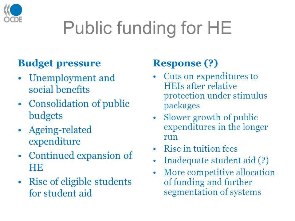 Public funding for HE Budget pressure Unemployment and social benefits Consolidation of public budgets Ageing-related expenditure Continued expansion of HE Rise of eligible students for student aid Response ( ) Cuts on expenditures to HEIs after relative protection under stimulus packages Slower growth of public expenditures in the longer run Rise in tuition fees Inadequate student aid ( ) More competitive allocation of funding and further segmentation of systems