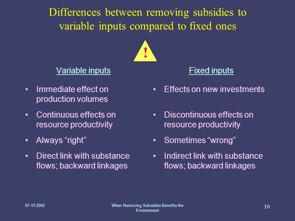 07-11-2002When Removing Subsidies Benefits the Environment 10 Differences between removing subsidies to variable inputs compared to fixed ones Variable inputs Immediate effect on production volumes Continuous effects on resource productivity Always right Direct link with substance flows; backward linkages Fixed inputs Effects on new investments Discontinuous effects on resource productivity Sometimes wrong Indirect link with substance flows; backward linkages !
