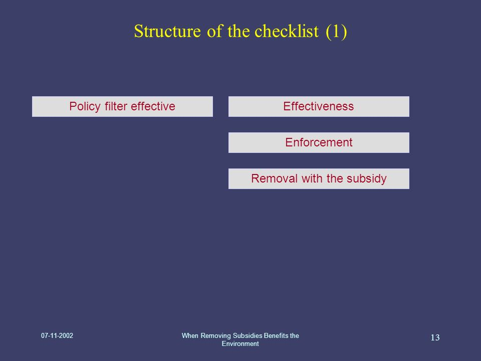 07-11-2002When Removing Subsidies Benefits the Environment 13 Structure of the checklist (1) Policy filter effectiveEffectiveness Enforcement Removal with the subsidy