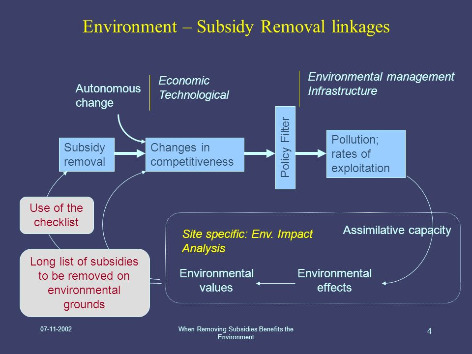 07-11-2002When Removing Subsidies Benefits the Environment 4 Site specific: Env.